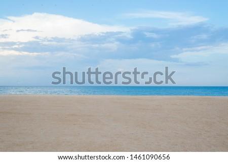 Empty beach shore at sea, ocean. Sea minimalist landscape. #1461090656