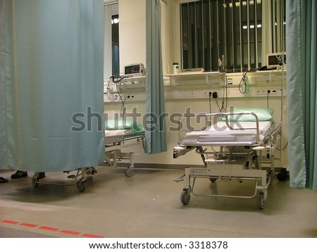empty bed at the hospital's emergency room