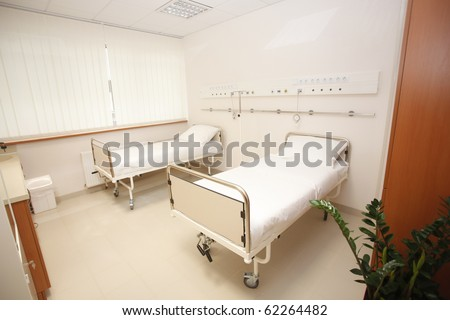 empty bedroom in hospital interior