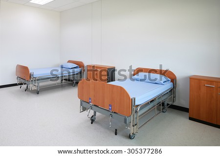 Empty beds in  the Patient room.