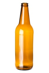 Empty beer bottle isolated on white