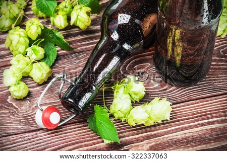empty beer bottles and hop on wooden table. focus on the bottle neck