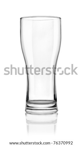 Empty beer glass isolated on white background. Path