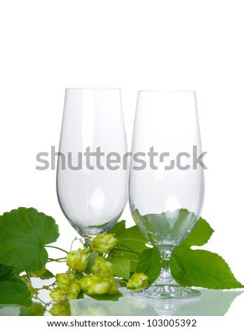 Empty beer glass with hop