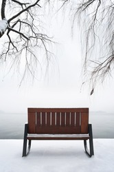 Empty bench in the snow, West Lake, Hangzhou