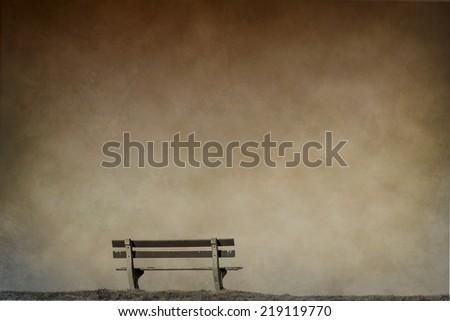 empty bench, sad background