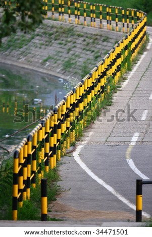Empty bicycle lanes by Ada lake in Belgrade