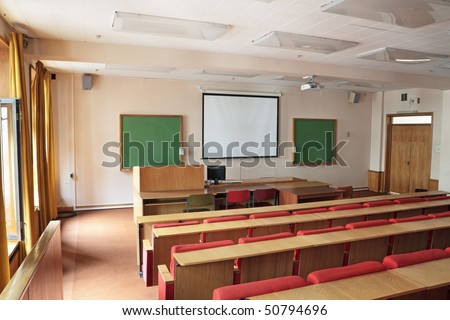 Empty big classroom at institute of higher education