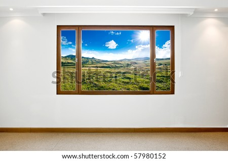 Empty big new room with a beautiful landscape view