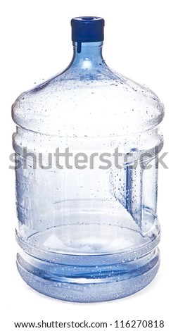 empty big plastic bottle for potable water isolated on a white background