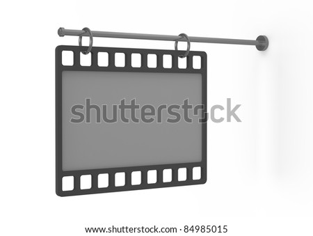 empty billboard as a film, perspective view - 3d illustration isolated on white
