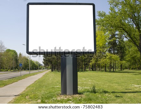 empty billboard in the beautiful landscape next to the road