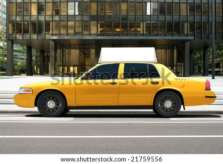 Empty billboard on a taxi car - stock photo