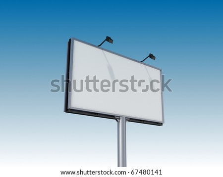 Empty billboard on sky background