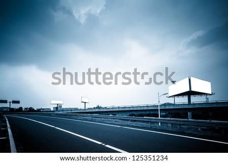 empty billboard on the sky background oudoor.
