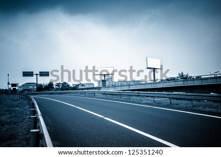 empty billboard on the sky background oudoor. - stock photo