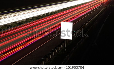Empty billboards in the highway at night, white area in the image is great for designer
