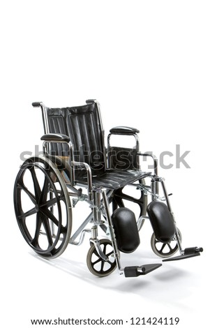 Empty black and chrome wheelchair sits vacant on white background.