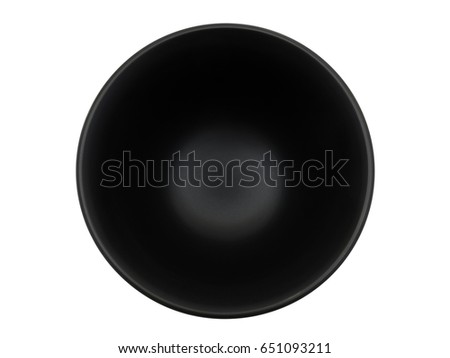Empty black bowl on white background, top view