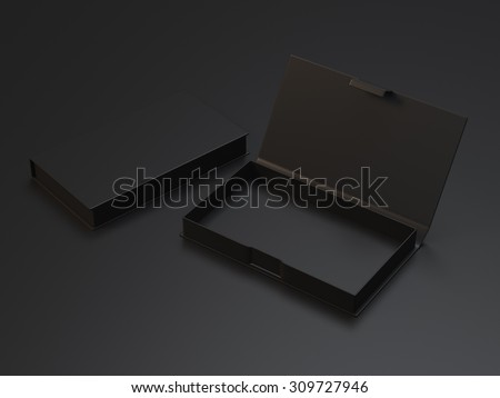 Empty black box for business cards on the black background