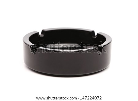 Empty black ceramic ashtray