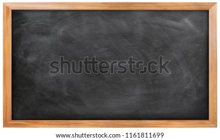 Empty black chalkboard on white background, Blank chalkboard with wooden frame isolated on white background. can add your own text on space.