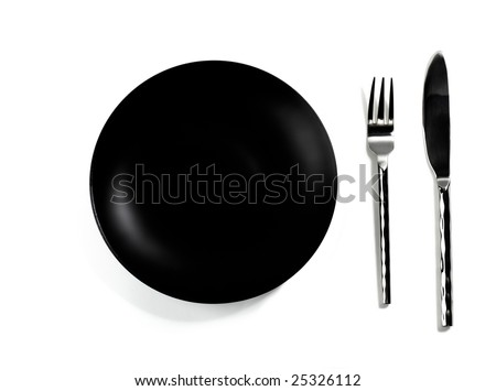 Empty Black Dinner Plate and Silverware