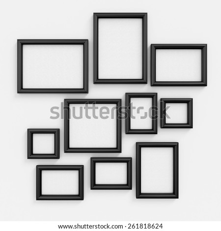Black photo frames collage on textured background, thirteen pieces ...