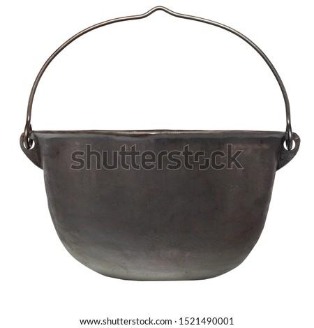 empty black iron cast cauldron, cast iron black pot, kettle cookware, isolated on perfect white background, stock photography