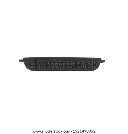 empty black iron cast skillet, cast iron black pot, kettle cookware, isolated on perfect white background, stock photography