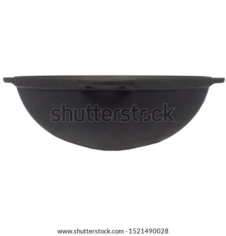 empty black iron cast wok, cast iron black pot, kettle cookware, isolated on perfect white background, stock photography