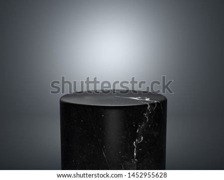 Empty black marble podium on nice background, product display with copy space for display of content design.Banner for advertise product on website