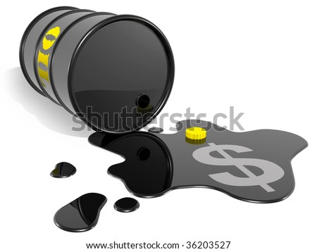 empty black oil barrel with dollar sign