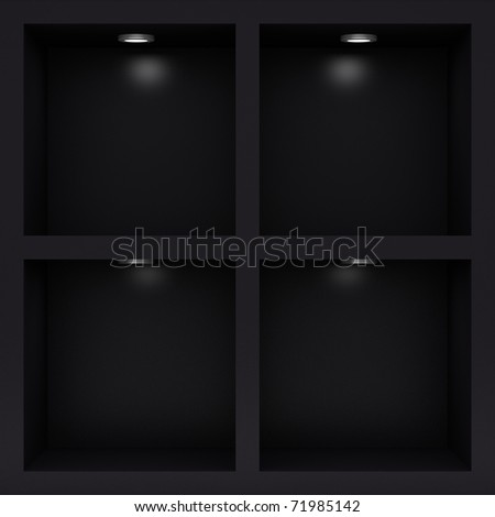 Empty black rack with illumination of shelves