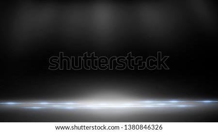 Empty black scene. Black photo background, rays of light. Abstract texture of black scene.