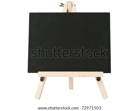 empty blackboard and tripod wooden