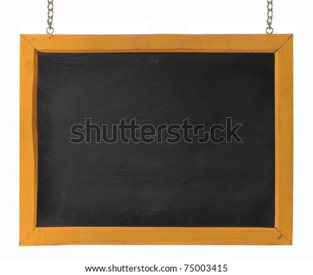 empty blackboard with wooden frame and chain. isolated over white