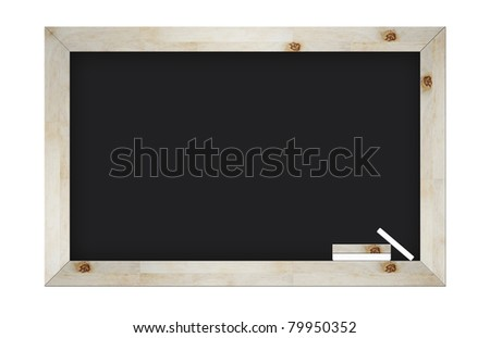 empty blackboard with wooden frame and chalks isolated