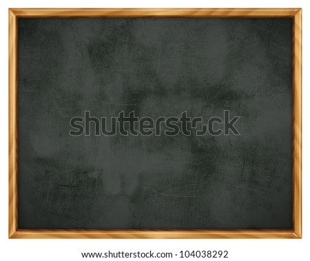 Empty blackboard with wooden frame - isolated on white background