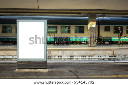 Empty blank billboard at train station - advertising public commercial, ready for new advertisement, selective focus - Shutterstock ID 534145702