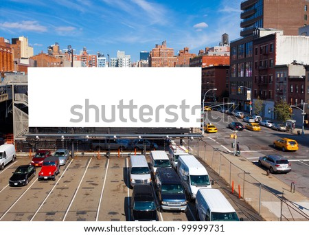 Empty blank billboard in New York City
