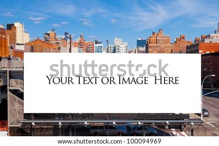 Empty blank billboard in New York City.  Urban city setting.