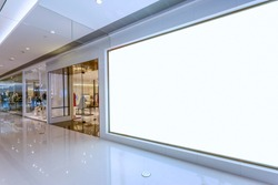 Empty blank billboard in shopping mall interior
