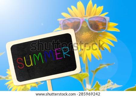 empty blank blackboard for summer text with sunflower flower field background
