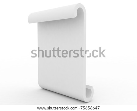 empty blank board bend isolated on white