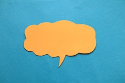 Empty blank color paper speech bubble balloon dialog for your design, flat lay top view concept