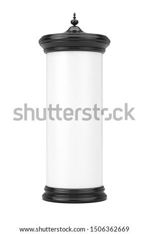 Empty Blank Cylindrical Advertising Column Billboard Mockup with Free Space for Your Design on a white background. 3d Rendering