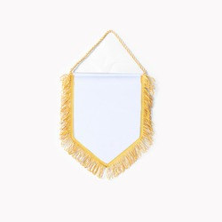 Empty blank Pennant white fabric with gold fringes on white background.