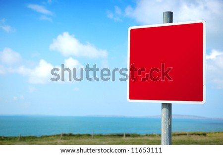 Empty Blank Red Road Sign