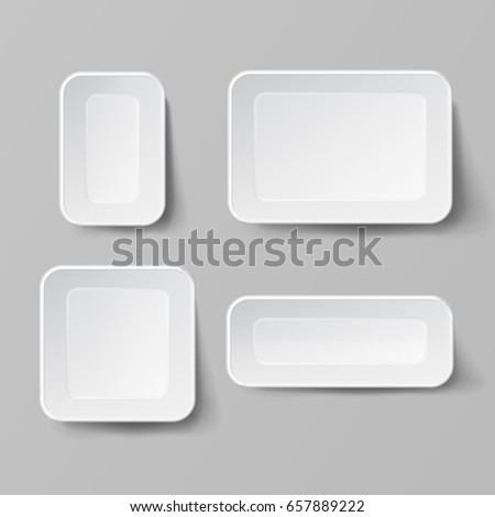 Empty Blank Styrofoam Plastic Food Tray Container. White Empty Mock Up. Good For Package Design #657889222